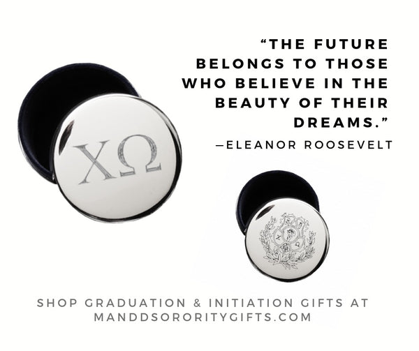 Shop Chi Omega jewelry and pin boxes for senior graduation gifts and initiation gifts.