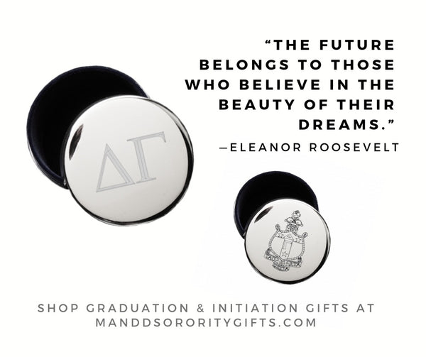 Shop Delta Gamma jewelry and pin boxes for senior graduation gifts and initiation gifts.
