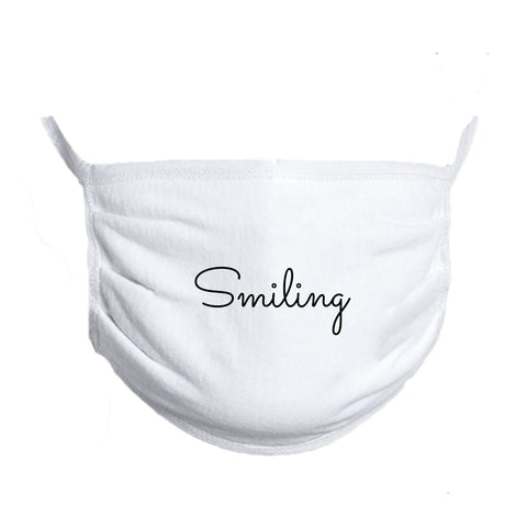 Smiling Face Mask White Cotton