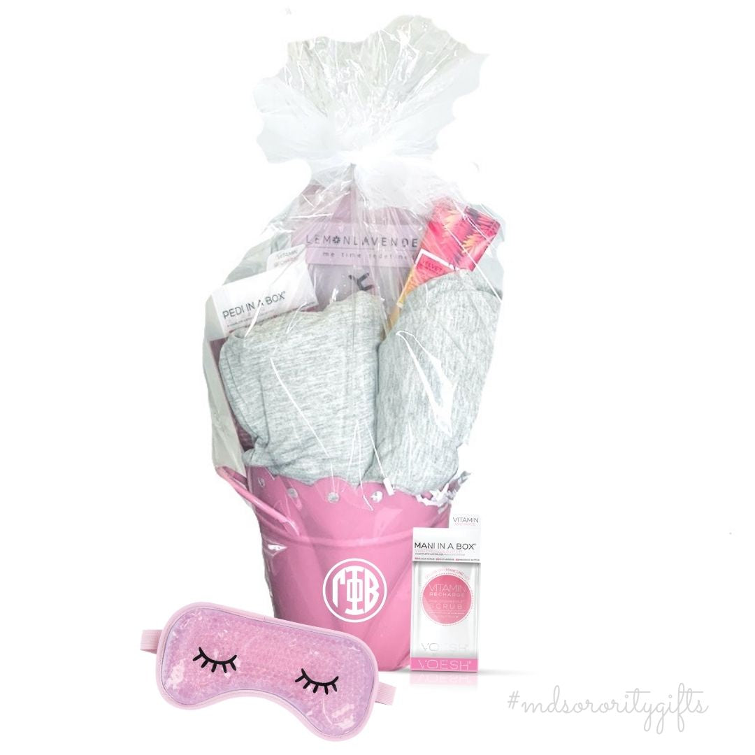 Sorority Gift Basket recommendations pajamas, sleep mask, keychains. Rush production available.