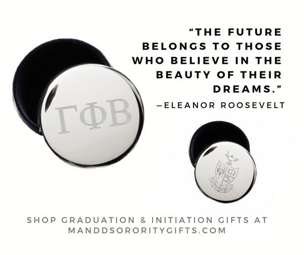 Shop Gamma Phi Beta jewelry and pin boxes for senior graduation gifts and initiation gifts.