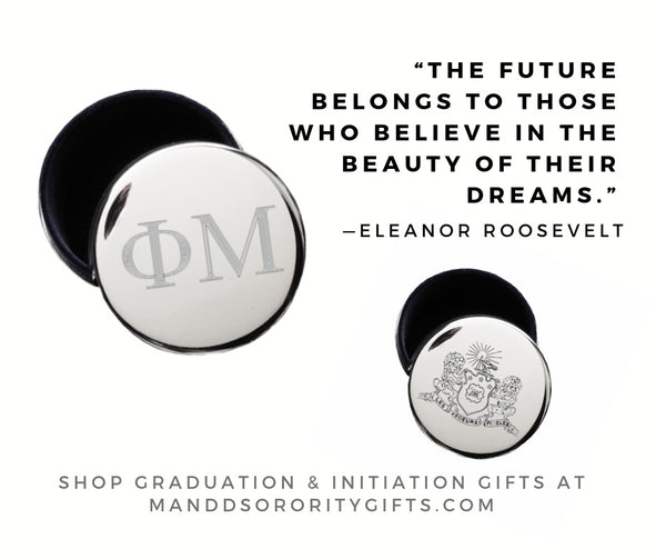 Shop Phi Mu jewelry and pin boxes for senior graduation gifts and initiation gifts.
