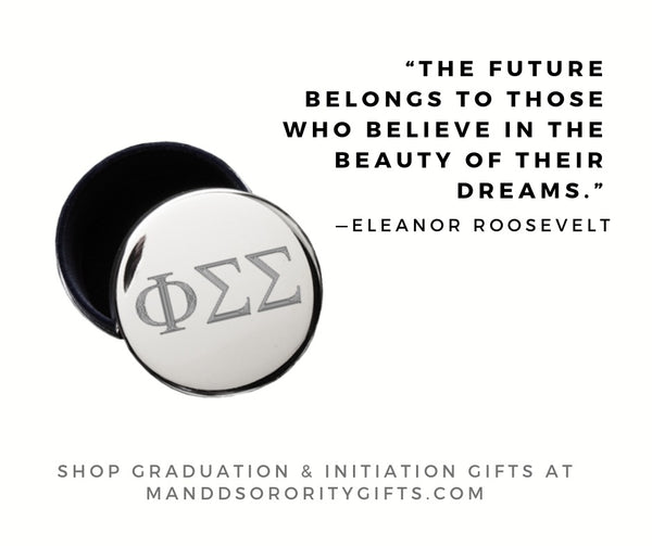 Shop Phi Sigma Sigma jewelry and pin boxes for senior graduation gifts and initiation gifts.