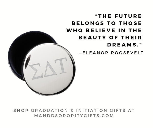 Shop Sigma Delta Tau jewelry and pin boxes for senior graduation gifts and initiation gifts.