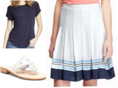 Sorority Look - Skirt, t-shirt, and sandals