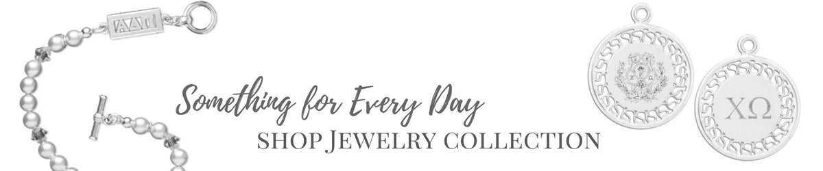 Shop the entire collection, Sorority Jewelry is available for the following sororities: Alpha Chi Omega, Alpha Delta Pi, Alpha Epsilon Phi, Alpha Gamma Delta, Alpha Kappa Alpha, Alpha Omicron Pi, Alpha Phi, Alpha Sigma Alpha, Alpha Sigma Tau, Alpha Xi Delta, Chi Omega, Delta Delta Delta (Tri Delta), Delta Gamma, Delta Phi Epsilon, Delta Zeta, Gamma Phi Beta, Kappa Alpha Theta, Kappa Delta, Kappa Kappa Gamma, Phi Mu, Phi Sigma Sigma, Pi Beta Phi, Sigma Delta Tau, Sigma Kappa, Sigma Sigma Sigma (Tri Sigma), Theta Phi Alpha, and Zeta Tau Alpha. Buy your Official Greek Licensed Sorority Jewelry at M&D Sorority Gifts for the best prices and the fastest turnaround times. Gift wrapping and sorority gift cards available.