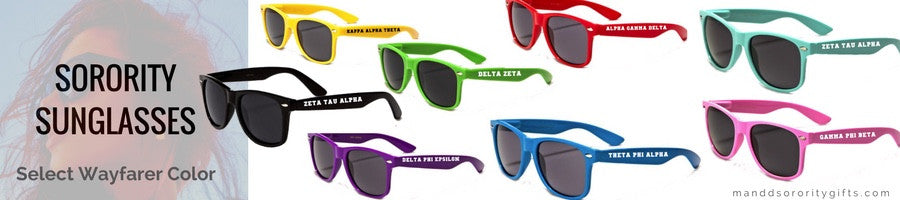 Sorority Wayfarer Sunglasses available in black, pink, purple, green, blue, red, yellow and teal. Select your favorite color of sorority sunglasses!