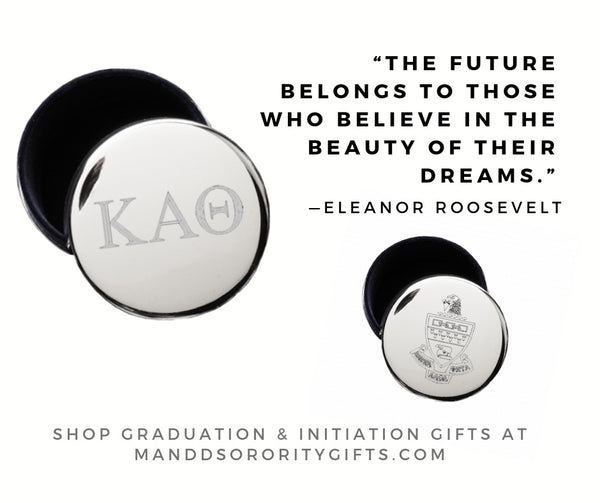 Shop Kappa Alpha Theta jewelry and pin boxes for senior graduation gifts and initiation gifts.