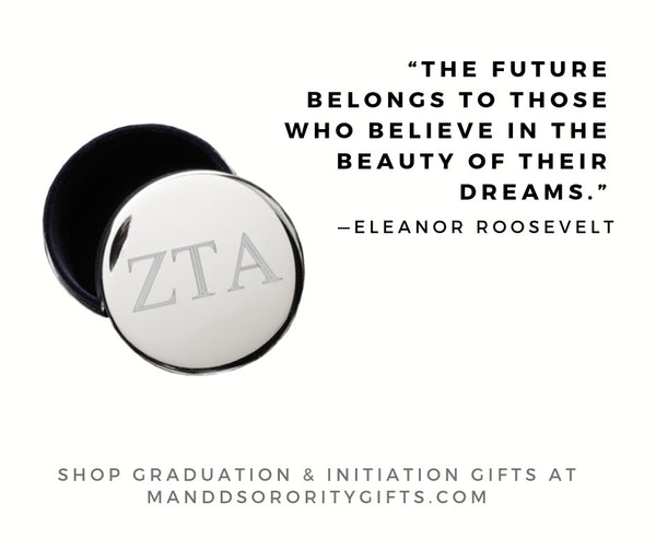 Shop Zeta Tau Alpha jewelry and pin boxes for senior graduation gifts and initiation gifts.