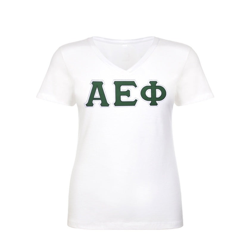 Alpha Epsilon Phi Shirt . V-neck . Stitched Greek Letters . Two Layer