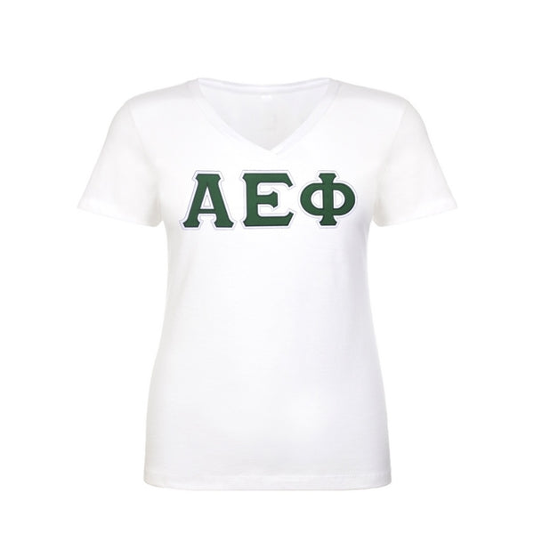 Alpha Epsilon Phi shirt with two layer stitched Greek Letters. commercial sitched to last. Sewn Greek letters that will last longer than your shirt!