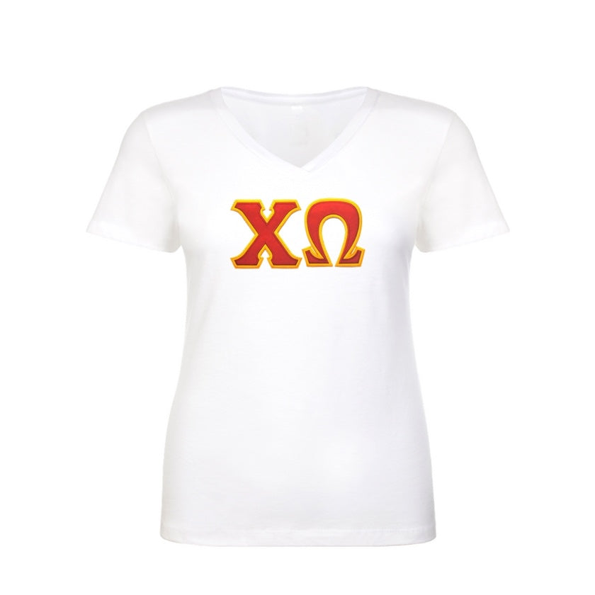 Chi Omega Shirt . V-neck . Stitched Greek Letters . Two Layer