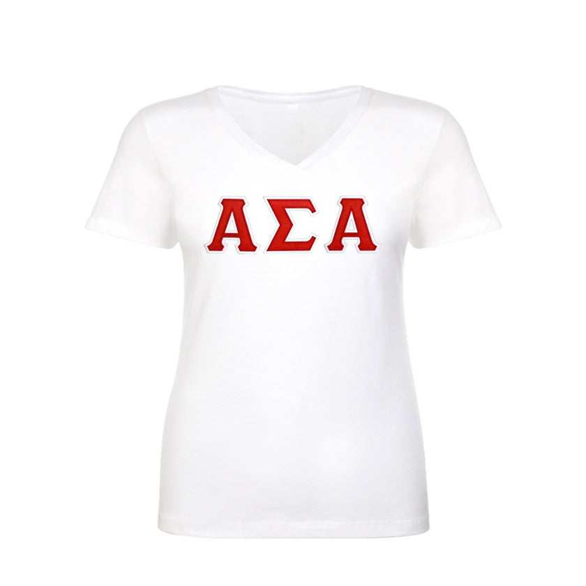 Alpha Sigma Alpha Shirt . V-neck . Stitched Greek Letters . Two Layer