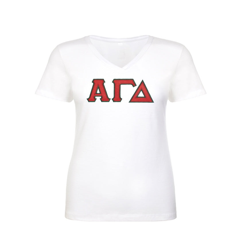 Alpha Gamma Delta Shirt . V-neck . Stitched Greek Letters . Two Layer