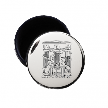 Alpha Epsilon Phi Crest Jewelry & Pin Box . Round . Engraved