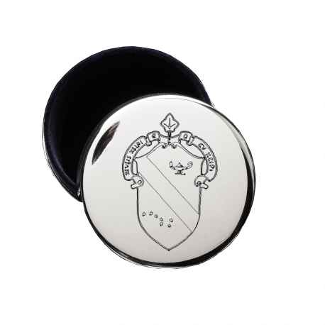 Alpha Phi Crest Jewelry & Pin Box . Round . Engraved