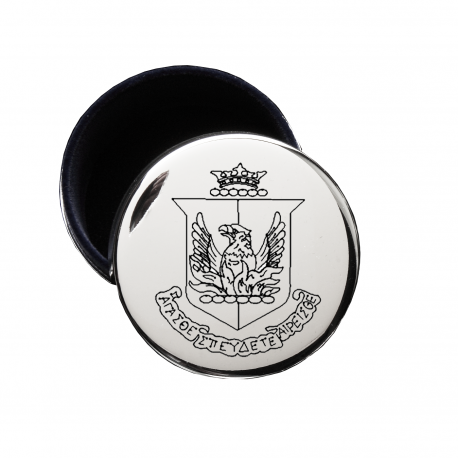 Alpha Sigma Alpha Crest Jewelry & Pin Box . Round . Engraved