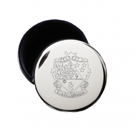 Kappa Delta Crest Jewelry & Pin Box . Round . Engraved