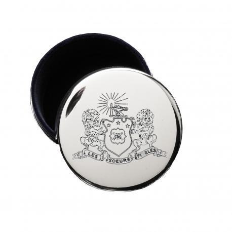 Phi Mu Crest Jewelry & Pin Box . Round . Engraved