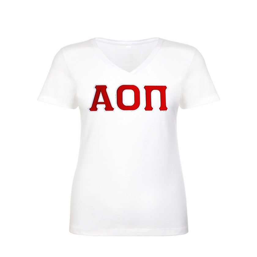 Alpha Omicron Pi Shirt . V-neck . Stitched Greek Letters . Two Layer