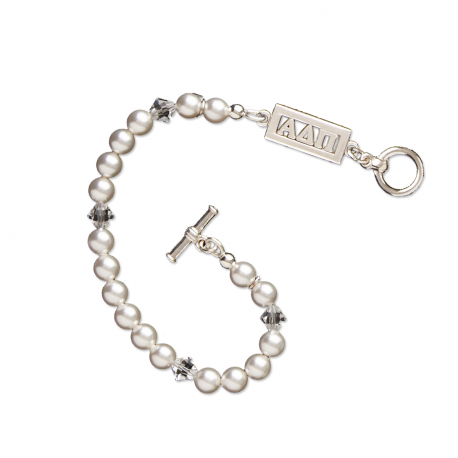 Alpha Delta Pi Bracelet I Swarovski Pearls I Sterling Silver Greek Letters Bar Bar. #AlphaDeltaPi jewelry to love. Shop #adpi gifts at M&D Sorority Gifts!