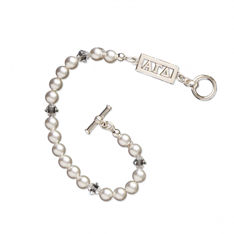 Alpha Gamma Delta Bracelet with Swarovski Pearls & Sterling Silver Greek Letters Bar