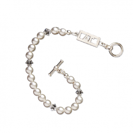 Delta Gamma Bracelet with Swarovski Pearls & Sterling Silver Greek Letters Bar