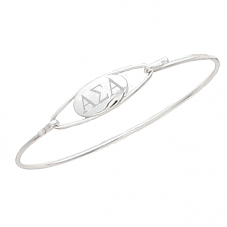 Alpha Sigma Alpha Bangle Bracelet Sterling Silver.