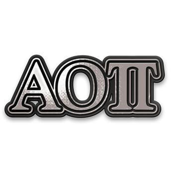 Alpha Omicron Pi Chrome Car decal.