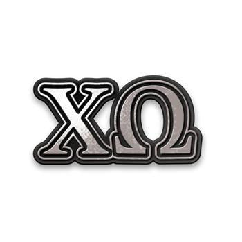 Chi Omega Car Sticker Chrome