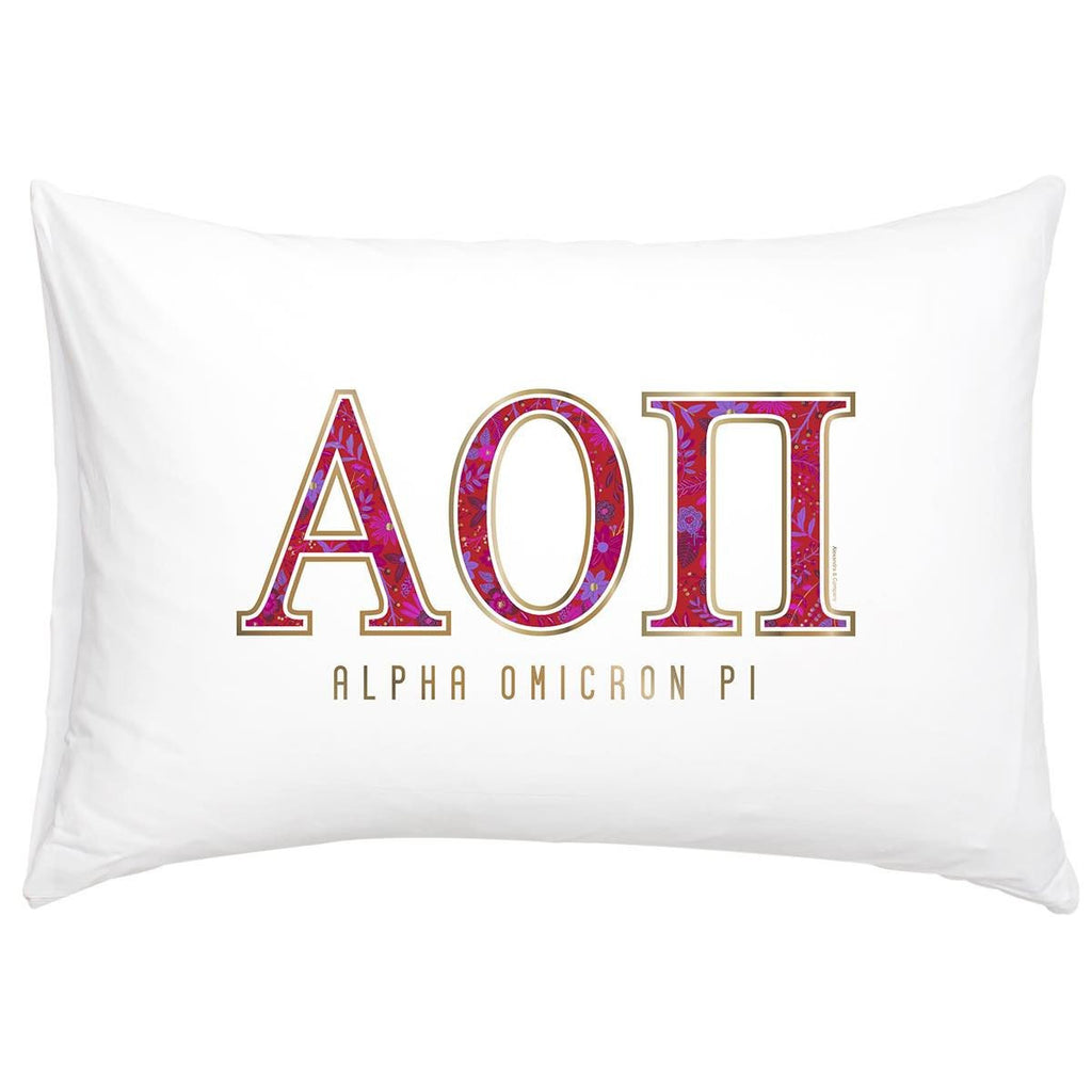 Alpha Omicron Pi Pillowcase . Gold Floral