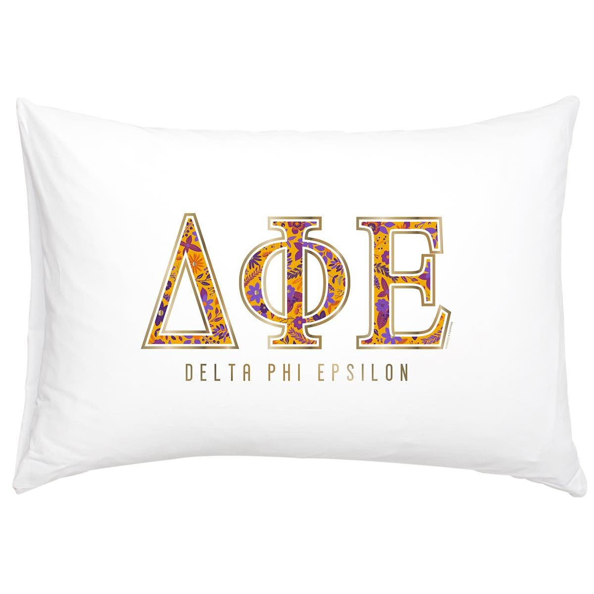 Delta Phi Epsilon Pillowcase with gold and floral print.