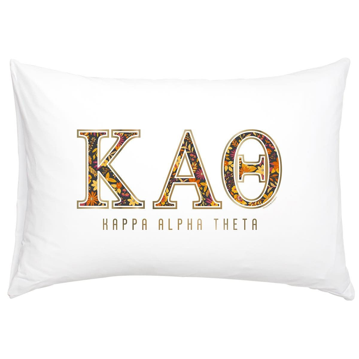 Kappa Alpha Theta Pillowcase with gold and floral print.