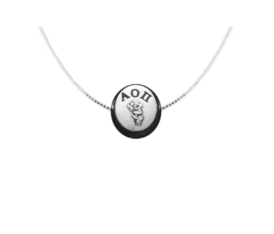 "Alpha Omicron Pi Slider charm. Add a 16"" or 18"" chain for a beautiful sorority apparel & accessories > jewelry > charms & pendants."