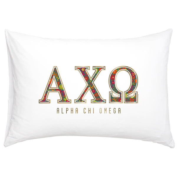 Alpha Chi Omega Pillowcase with gold and floral print.
