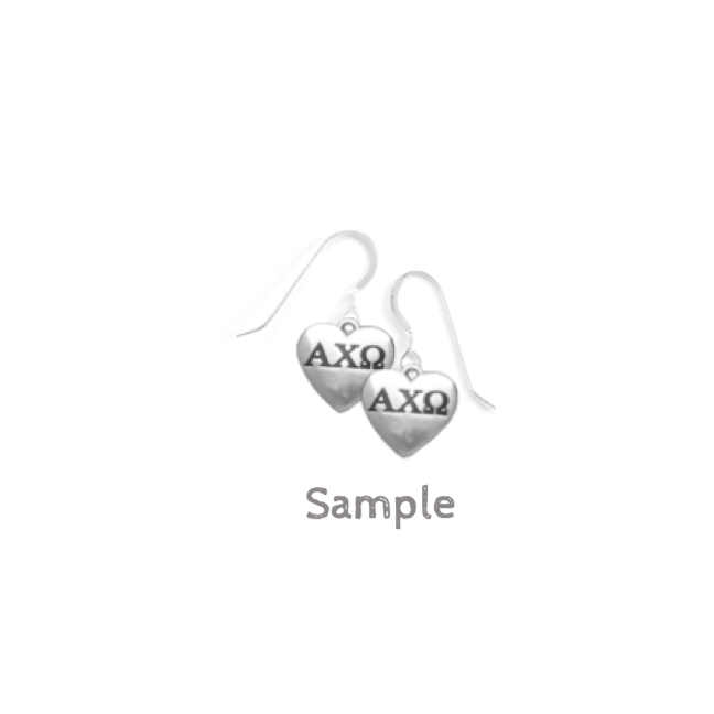 43e01b7df3136 Alpha Delta Pi Earrings  Sterling Silver Hearts - M D Sorority Gifts