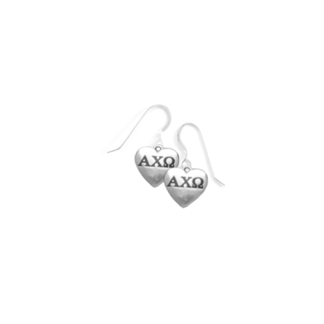 Alpha Chi Omega Earrings . Heart . Sterling Silver
