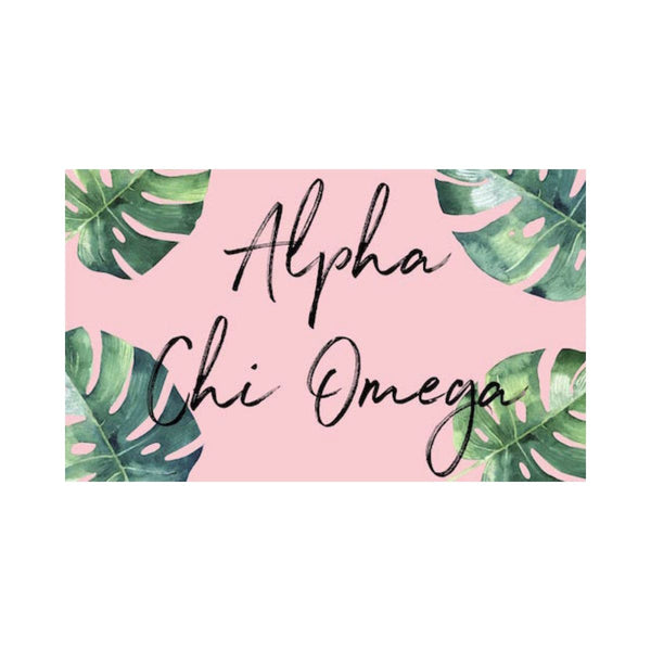 Alpha Chi Omega Flag with colorful floral background. Coordinating floral and gold Greek Lettered pillowcase available.