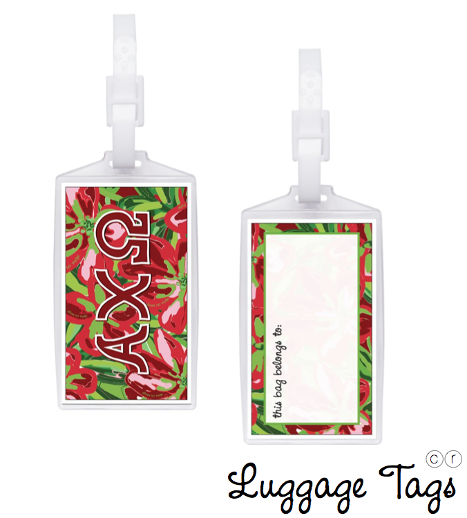 Alpha Chi Omega Luggage Tag . Floral