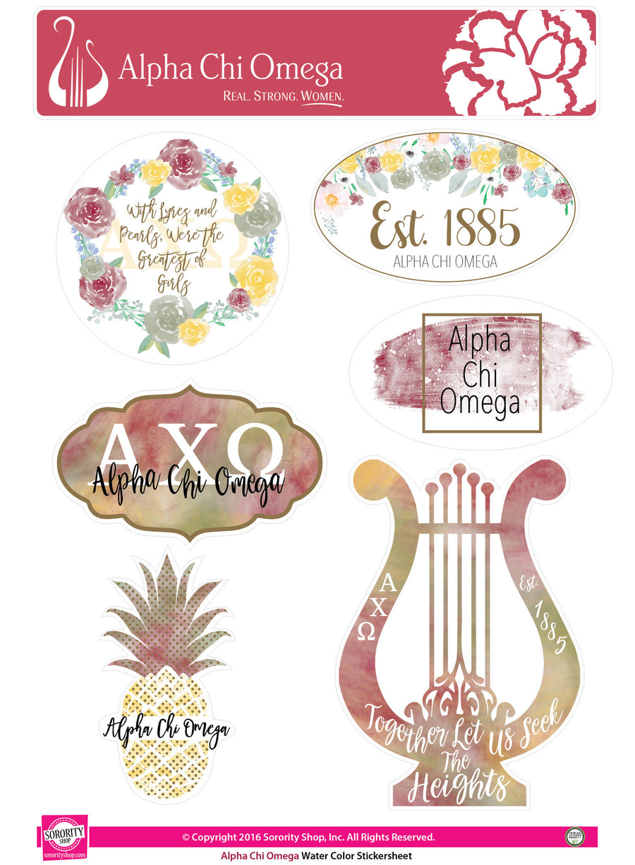 Alpha Chi Omega Sticker Sheet . Water Color
