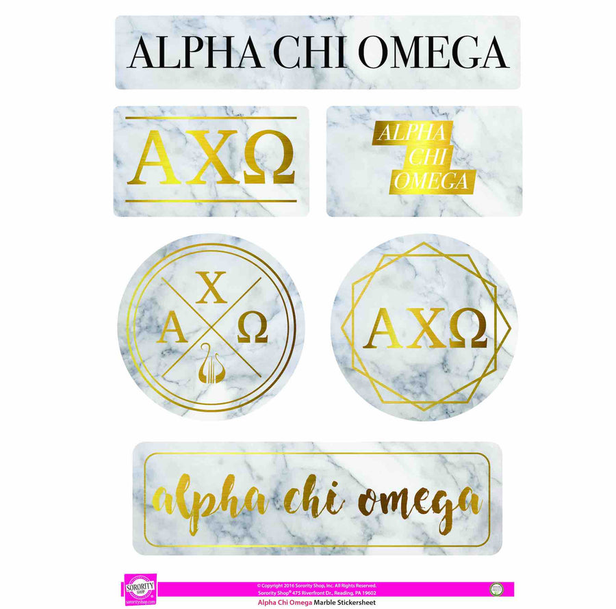 Alpha Chi Omega Sticker Sheet . Marble
