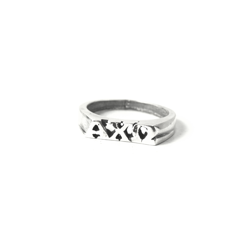 Alpha Chi Omega Ring with Greek Letters Sterling Silver.