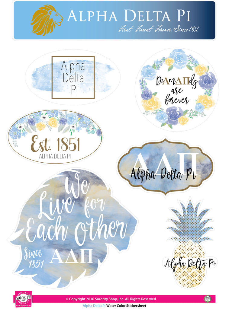 Alpha Delta Pi Sticker Sheet . Water Color