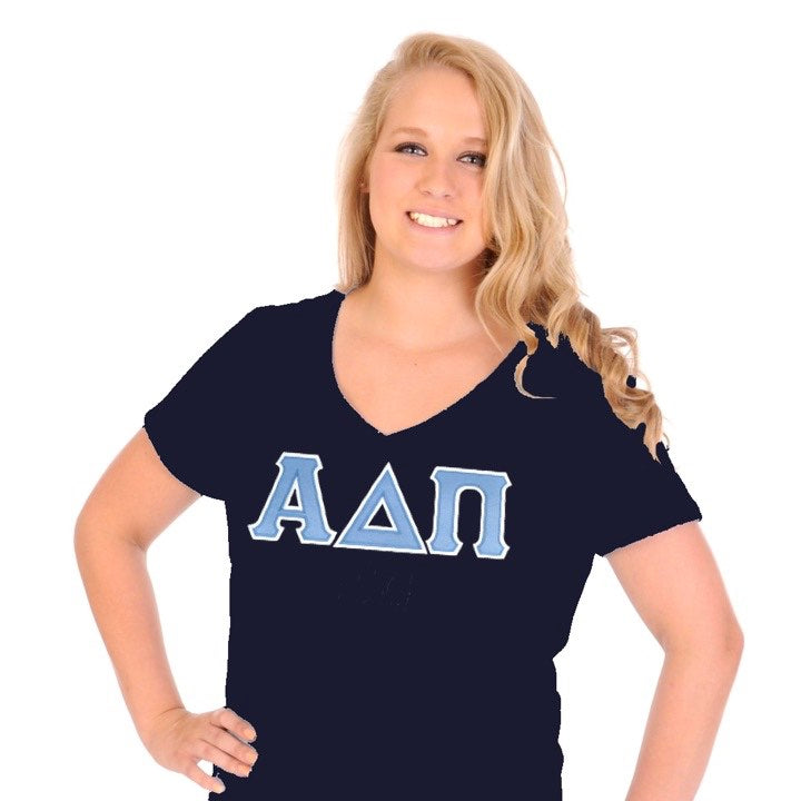 Alpha Delta Pi navy v-neck lettered shirt. Model image. Shop #AlphaDeltaPi clothing at M&D Sorority Gifts. #ADPI