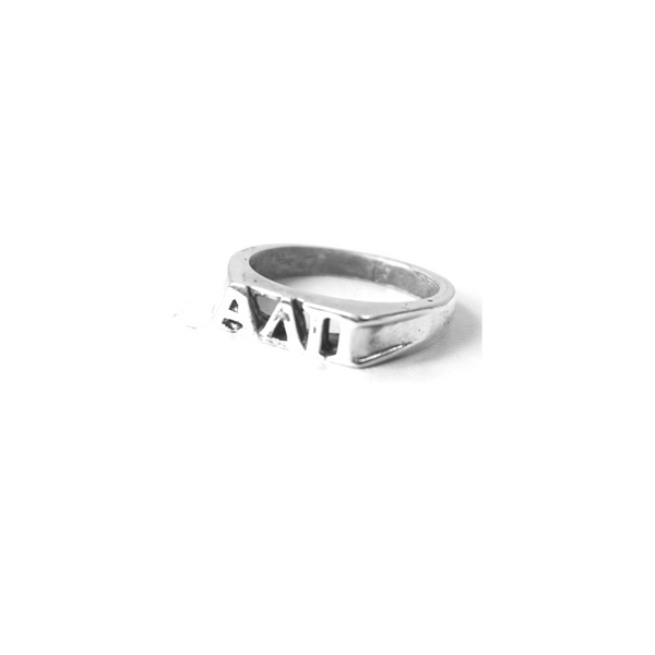 Alpha Delta Pi Ring with Greek Letters Sterling Silver. Shop #AlphaDeltaPi jewelry at M&D Sorority Gifts. 200+ #ADPI products available. #mdsororitygifts