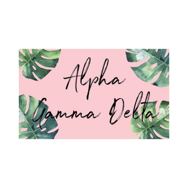Alpha Gamma Delta Flag with colorful floral background. Coordinating floral and gold Greek Lettered pillowcase available.