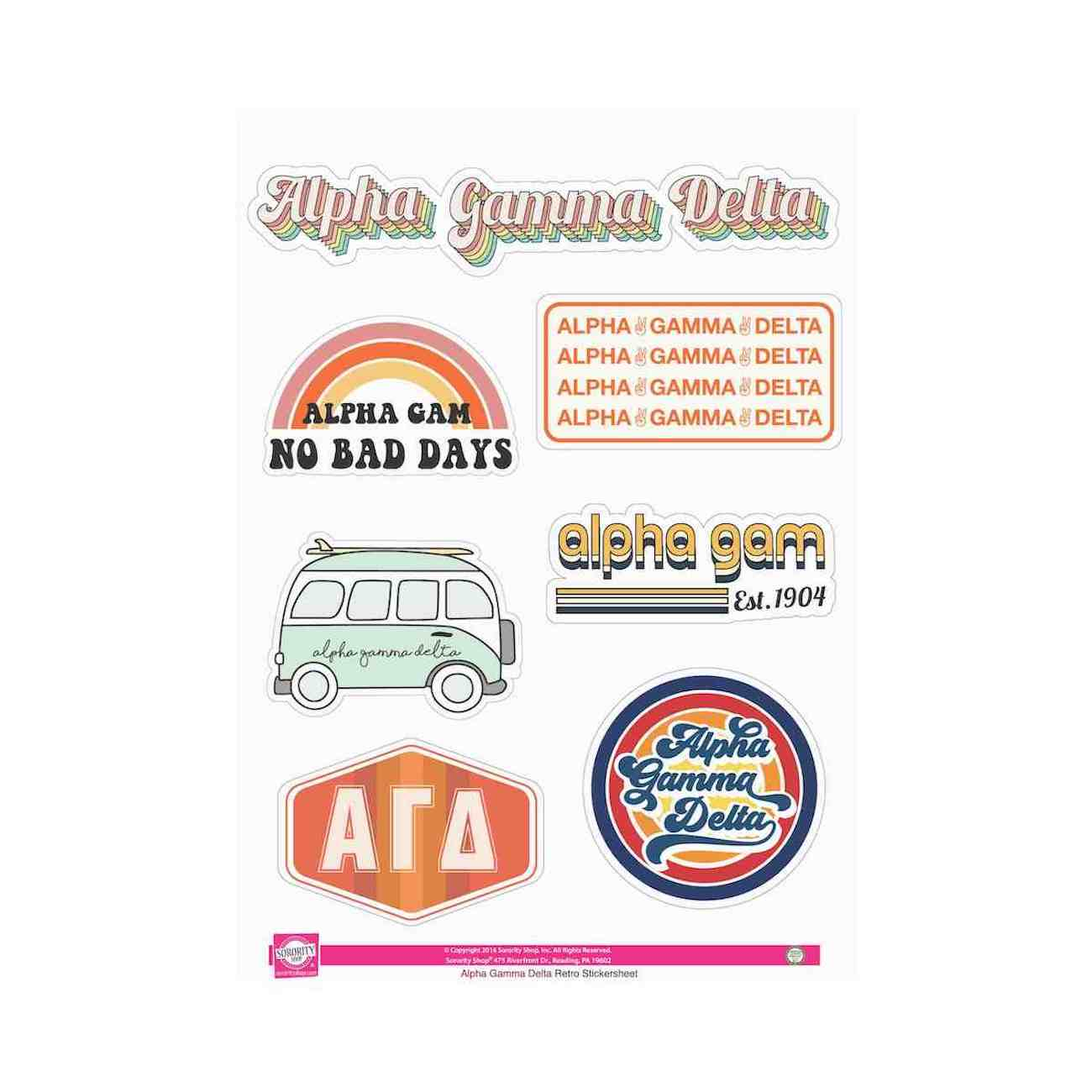 Looking for something retro inspired? Look no further that our Alpha Gamma Delta sticker sheets!