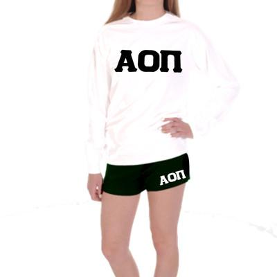 Alpha Omicron Pi Shorts . Knit . Stitched White Greek Letters