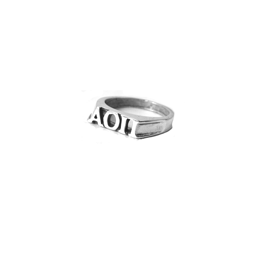 Alpha Omicron Pi Ring . Block Greek Letters . Sterling Silver