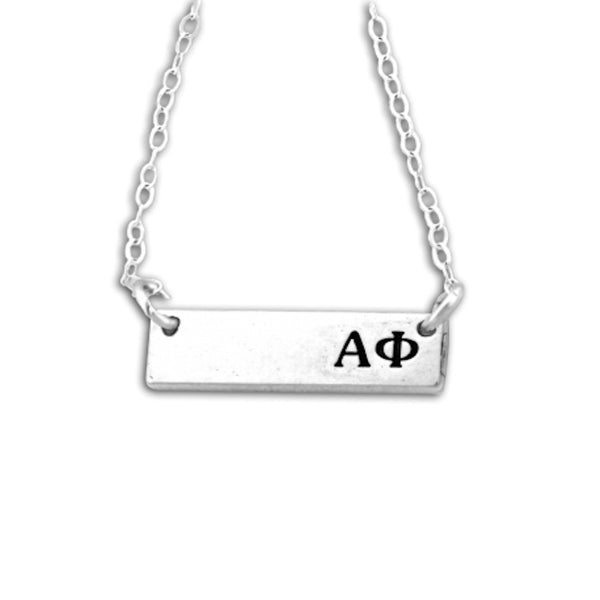 Alpha Phi Bar Necklace in Sterling Silver. Quality sorority jewelry that lasts. #AlphaPhi recommended one size fits all sorority gift. Shop #APHI